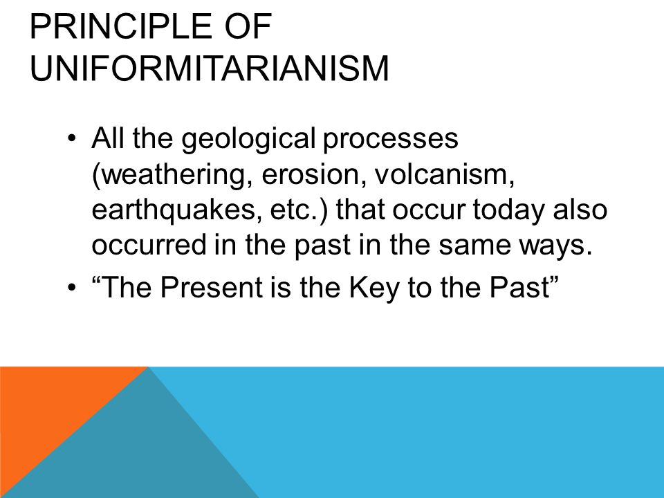 PRINCIPLE OF UNIFORMITARIANISM All the geological processes (weathering, erosion, volcanism, earthquakes, etc.) that occur today also occurred in the past in the same ways.