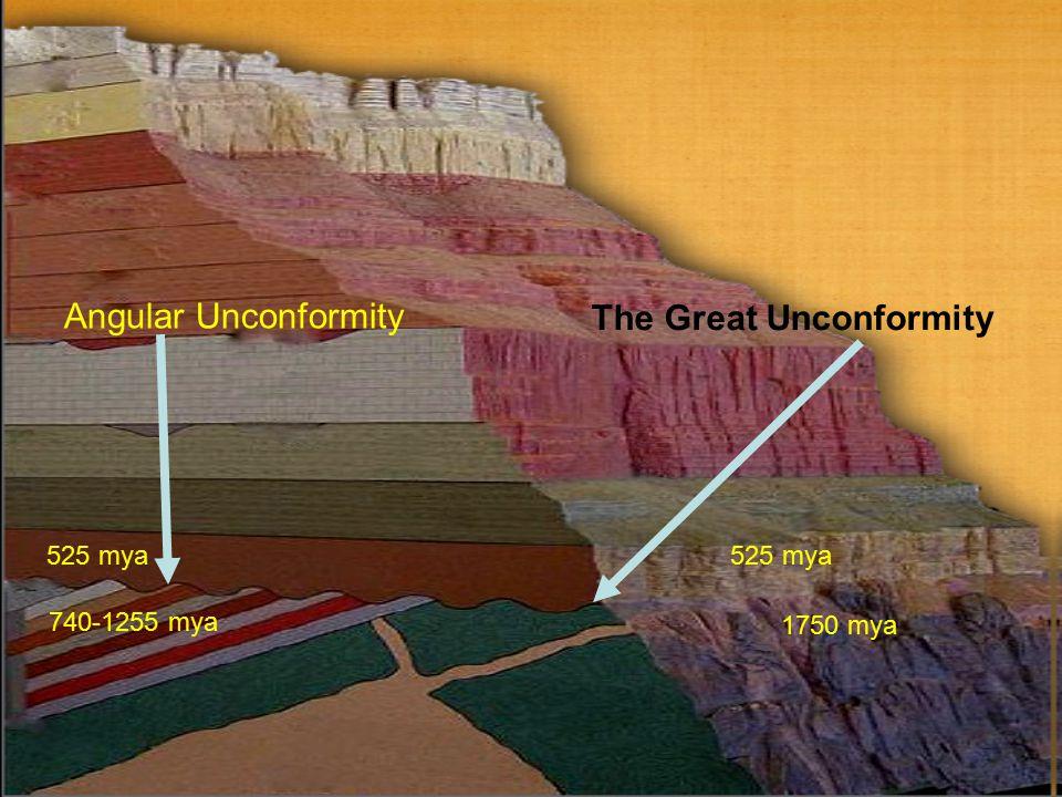 The Great Unconformity 740-1255 mya 525 mya 1750 mya Angular Unconformity 525 mya
