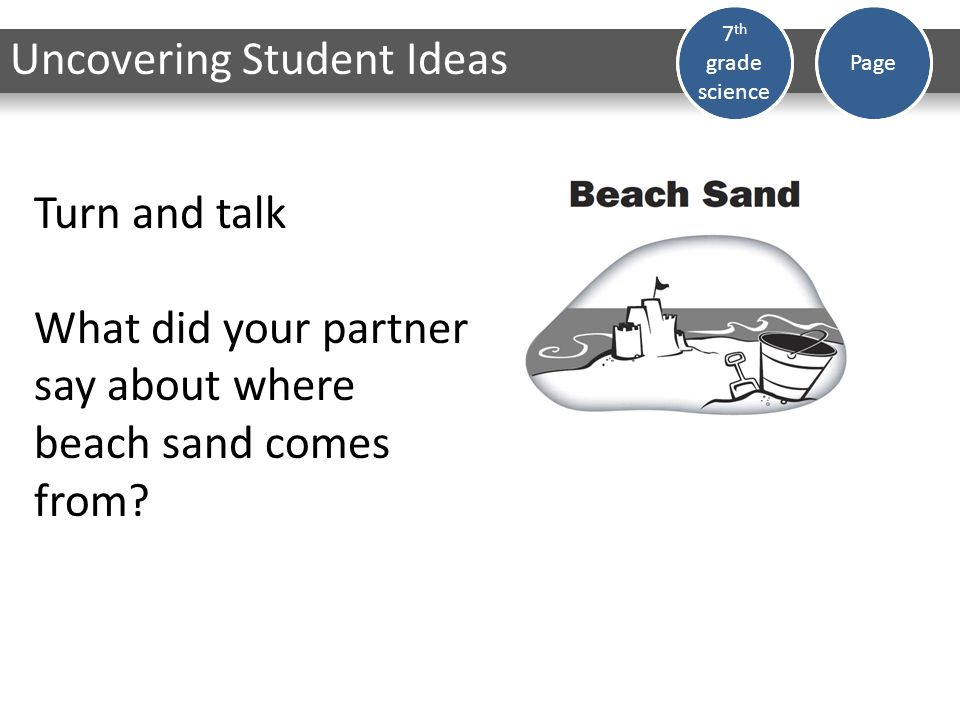 Dark Matter 7 th grade science Page Turn and talk What did your partner say about where beach sand comes from.