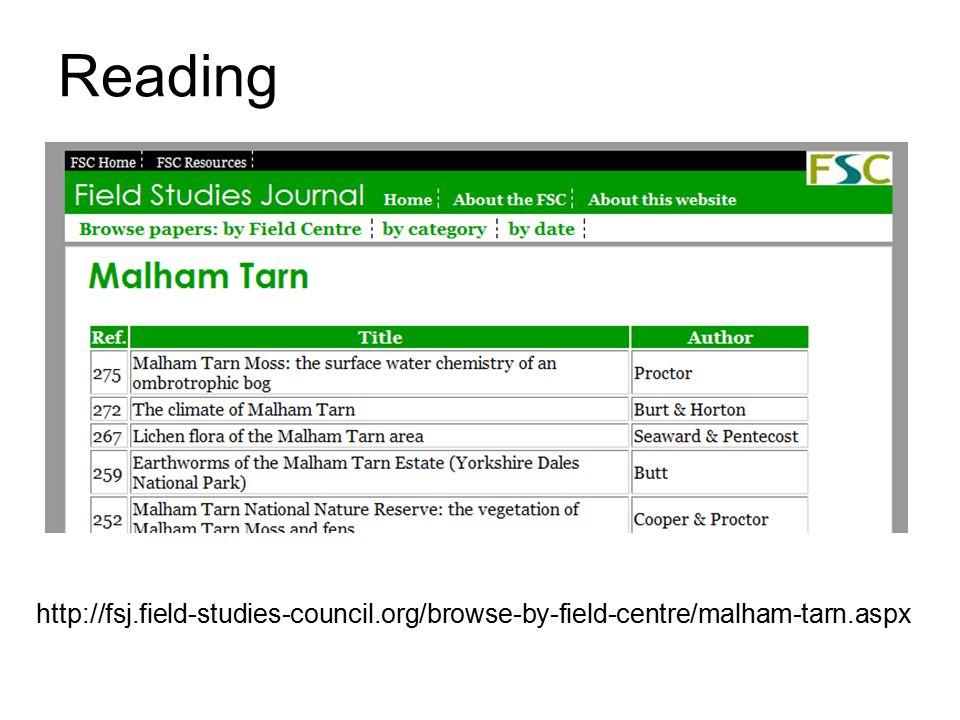 Reading http://fsj.field-studies-council.org/browse-by-field-centre/malham-tarn.aspx