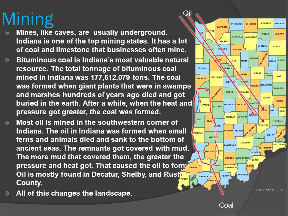 Mining  Mines, like caves, are usually underground. Indiana is one of the top mining states. It has a lot of coal and limestone that businesses often