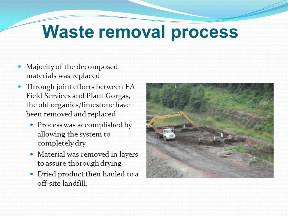 Majority of the decomposed materials was replaced Through joint efforts between EA Field Services and Plant Gorgas, the old organics/limestone have been removed and replaced Process was accomplished by allowing the system to completely dry Material was removed in layers to assure thorough drying Dried product then hauled to a off-site landfill.