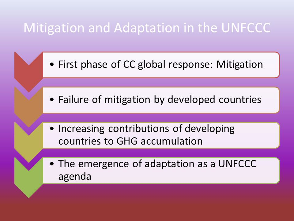 Mitigation and Adaptation in the UNFCCC First phase of CC global response: Mitigation Failure of mitigation by developed countries Increasing contributions of developing countries to GHG accumulation The emergence of adaptation as a UNFCCC agenda