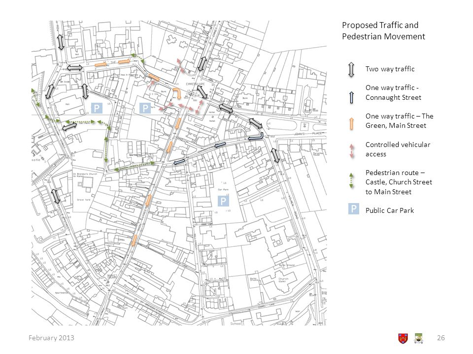 Proposed Traffic and Pedestrian Movement February 201326 Two way traffic One way traffic - Connaught Street One way traffic – The Green, Main Street Controlled vehicular access Pedestrian route – Castle, Church Street to Main Street Public Car Park PP P P