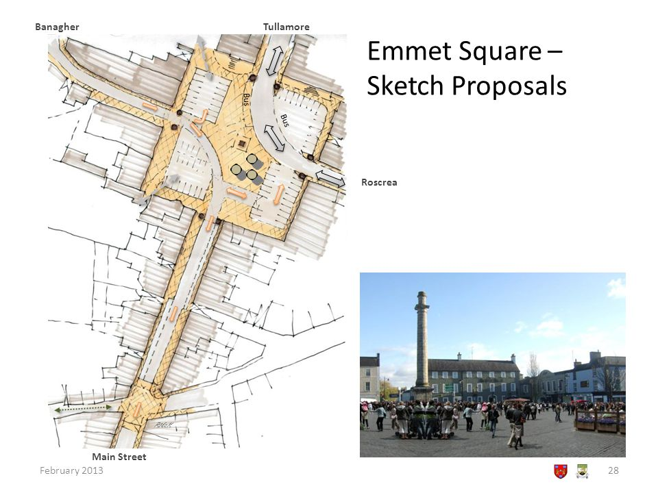 Emmet Square – Sketch Proposals February 201328 RMcK Tullamore Roscrea Banagher Bus Main Street