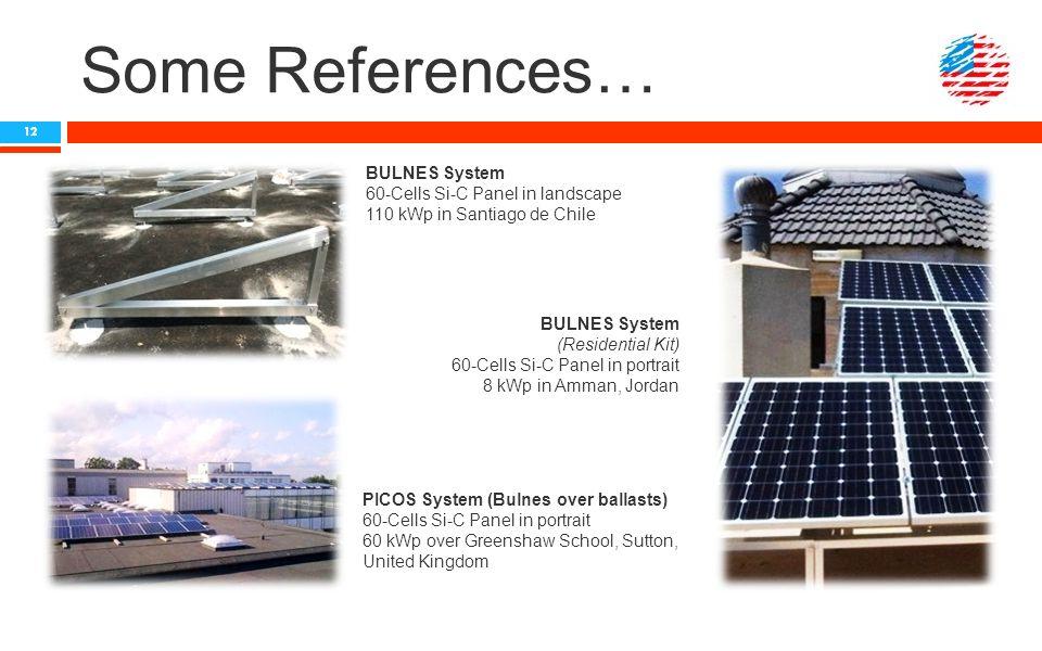 Some References… BULNES System 60-Cells Si-C Panel in landscape 110 kWp in Santiago de Chile BULNES System (Residential Kit) 60-Cells Si-C Panel in po