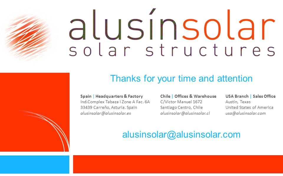 Thanks for your time and attention alusinsolar@alusinsolar.com 14 Spain | Headquarters & Factory Ind.Complex Tabaza I Zone A Fac.