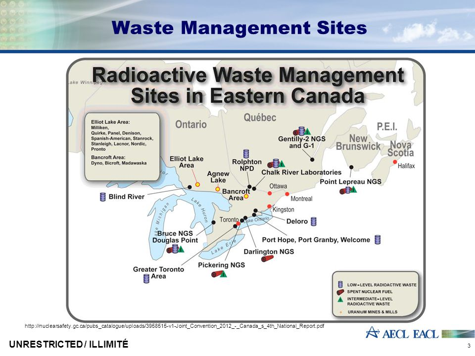 Canadian Regulations  Nuclear Safety & Control Act  Passed March 1997  Came in to force May 2000  Canadian Nuclear Safety Commission  Canada's nuclear regulatory body  Created under Nuclear Safety & Control Act  Regulatory policy P-290, Managing Radioactive Waste  Regulatory guide G-320, Assessing the Long Term Safety of Radioactive Waste Management UNRESTRICTED / ILLIMITÉ 4