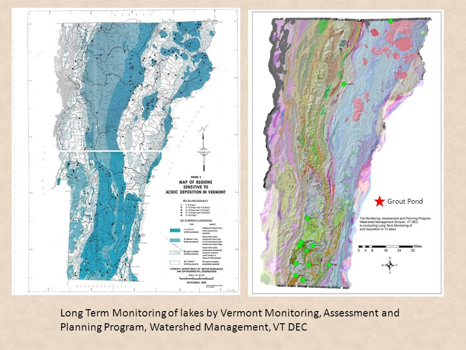 Long Term Monitoring of lakes by Vermont Monitoring, Assessment and Planning Program, Watershed Management, VT DEC 12 lakes in program Grout Pond