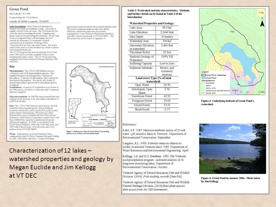 Characterization of 12 lakes – watershed properties and geology by Megan Euclide and Jim Kellogg at VT DEC