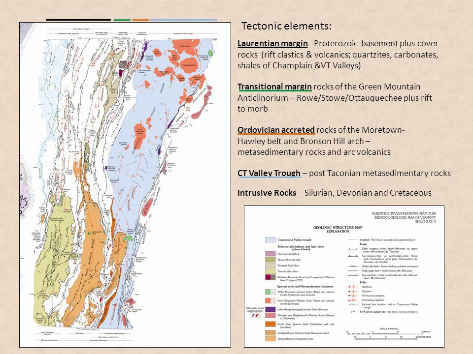 Laurentian margin - Proterozoic basement plus cover rocks (rift clastics & volcanics; quartzites, carbonates, shales of Champlain &VT Valleys) Transit