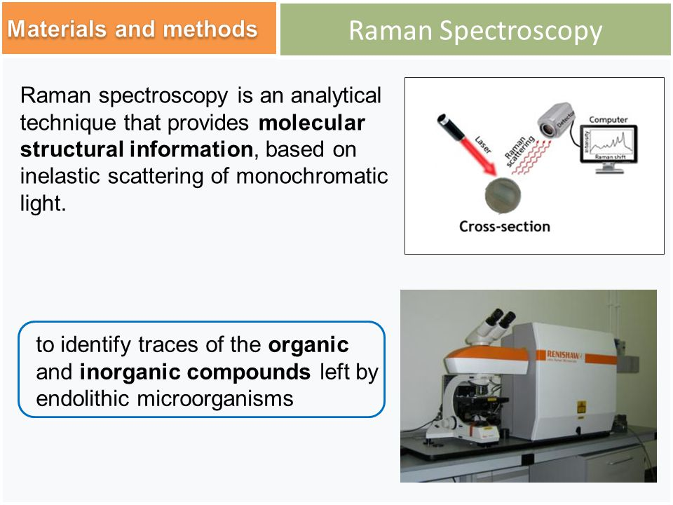 Raman Spectroscopy to identify traces of the organic and inorganic compounds left by endolithic microorganisms Raman spectroscopy is an analytical technique that provides molecular structural information, based on inelastic scattering of monochromatic light.