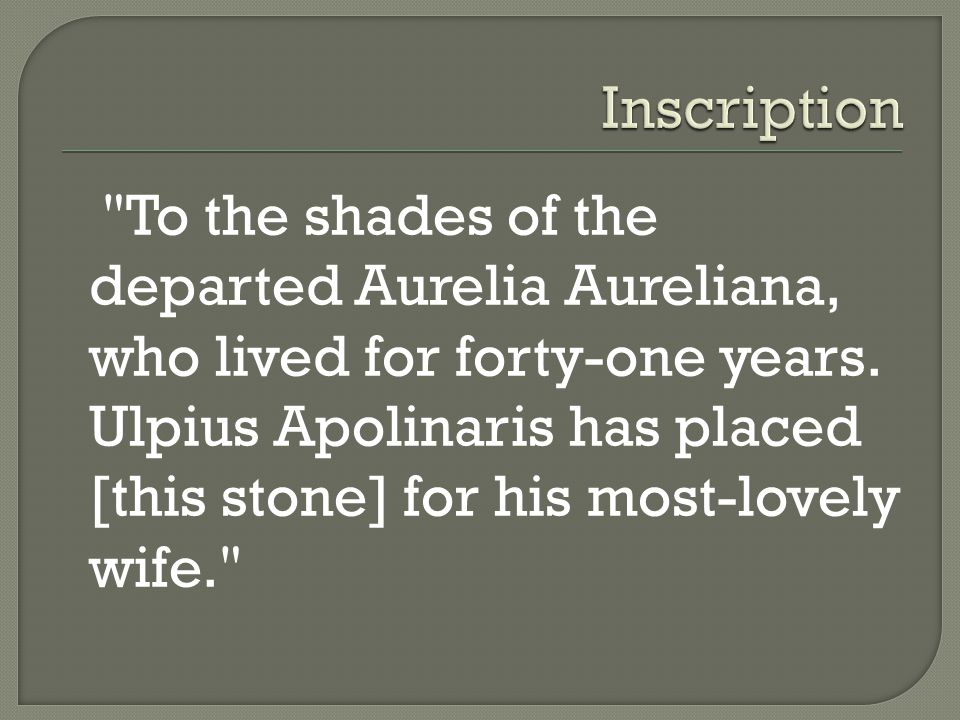 To the shades of the departed Aurelia Aureliana, who lived for forty-one years.