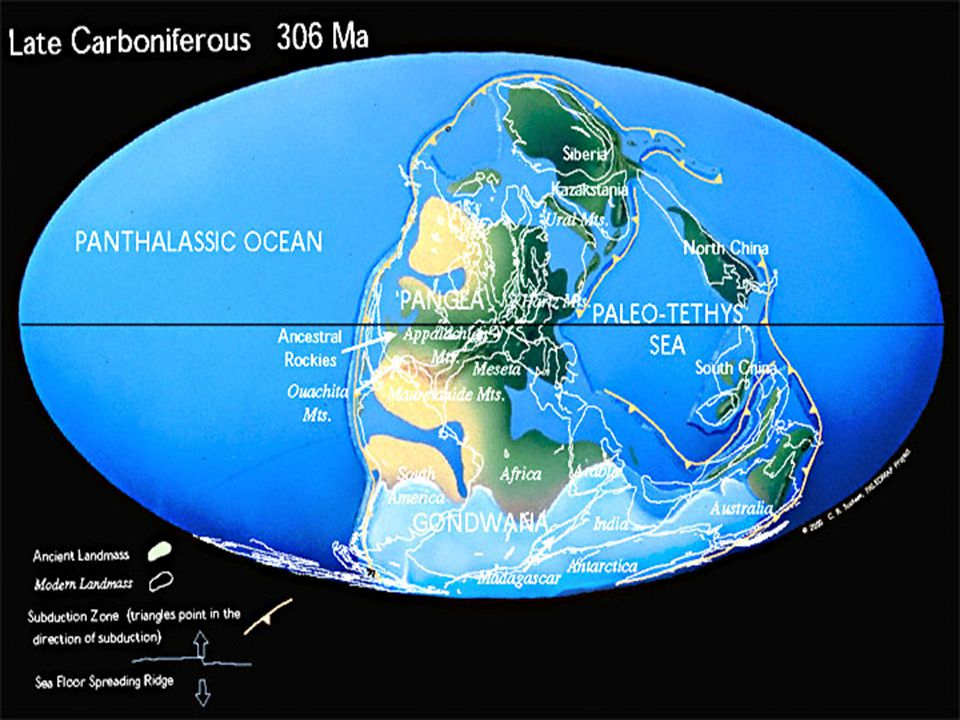 Climate With Gondwanaland shifting around the south pole there were many period of freezing and thawing Because of this the ocean was prone to recede and then again cover costal lowlands Repeating layers of sedimentary layers are common in the Pennsylvanian period sandstone, shale, coal, limestone, and sandstone again are the common cyclothems of rock formations Formation – Ice in Gondwanaland melted causing sea levels to rise.