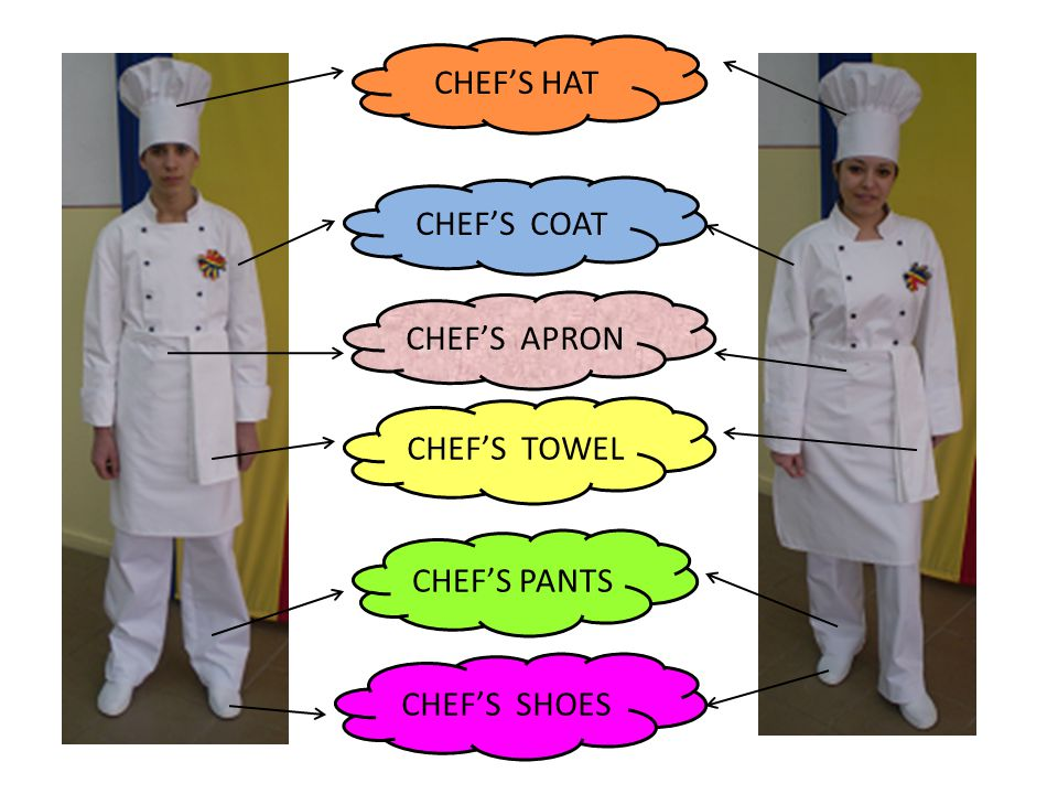 CHEF'S HAT CHEF'S COAT CHEF'S PANTS CHEF'S SHOES CHEF'S APRON CHEF'S TOWEL
