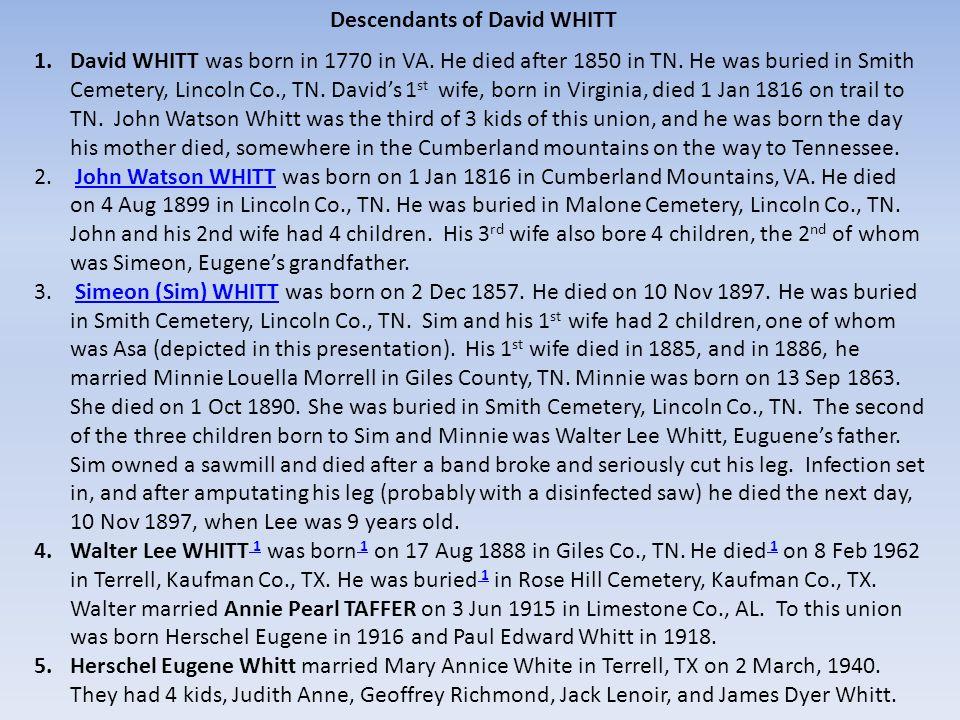 Walter Lee Whitt, Pearl Whitt, Hurshall Taffer, Annie Hancock