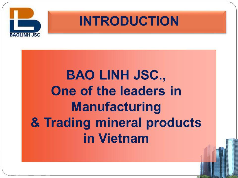 INTRODUCTION Company name Bao Linh Int'l Trade & Transports Joint Stock Company Trading nameBao Linh JSC., Establishment30 Jun 2005 Tax Code0200639844 CEO/Manager/DirectorMr.
