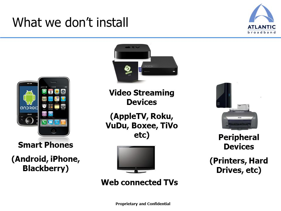 Proprietary and Confidential What we don't install Smart Phones (Android, iPhone, Blackberry) Video Streaming Devices (AppleTV, Roku, VuDu, Boxee, TiVo etc) Peripheral Devices (Printers, Hard Drives, etc) Web connected TVs