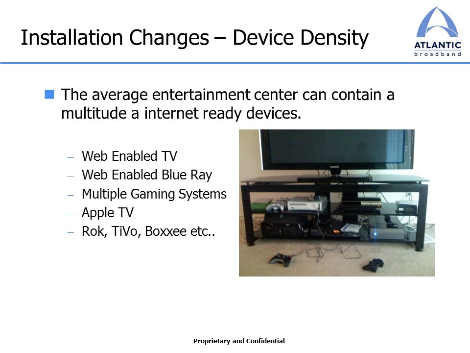 Proprietary and Confidential Installation Changes – Device Density The average entertainment center can contain a multitude a internet ready devices.