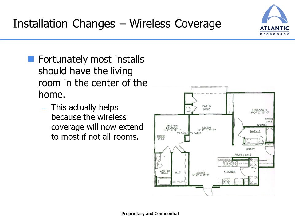 Proprietary and Confidential Installation Changes – Wireless Coverage Fortunately most installs should have the living room in the center of the home.