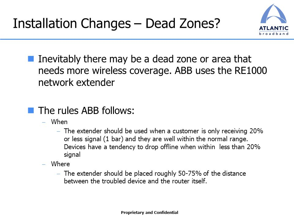 Proprietary and Confidential Installation Changes – Dead Zones.