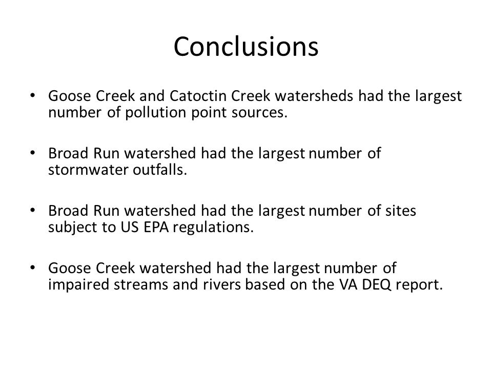 Conclusions Goose Creek and Catoctin Creek watersheds had the largest number of pollution point sources.