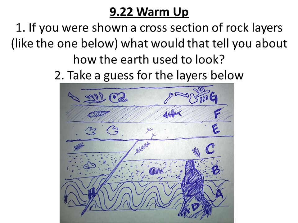 9.22 Warm Up 1. If you were shown a cross section of rock layers (like the one below) what would that tell you about how the earth used to look? 2. Ta