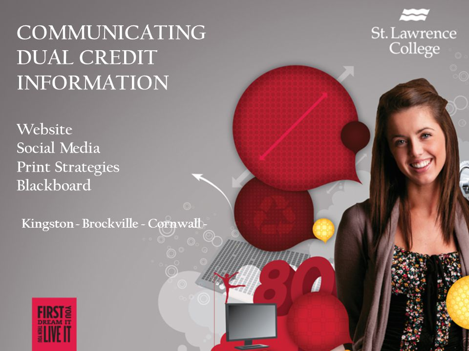 COMMUNICATING DUAL CREDIT INFORMATION Website Social Media Print Strategies Blackboard Kingston ~ Brockville ~ Cornwall ~