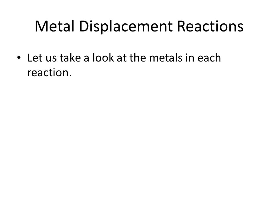 Metal Displacement Reactions If the metal reacts with the salt solution then we put a tick in the table and if it doesn't, we put a cross. magnesiumzi