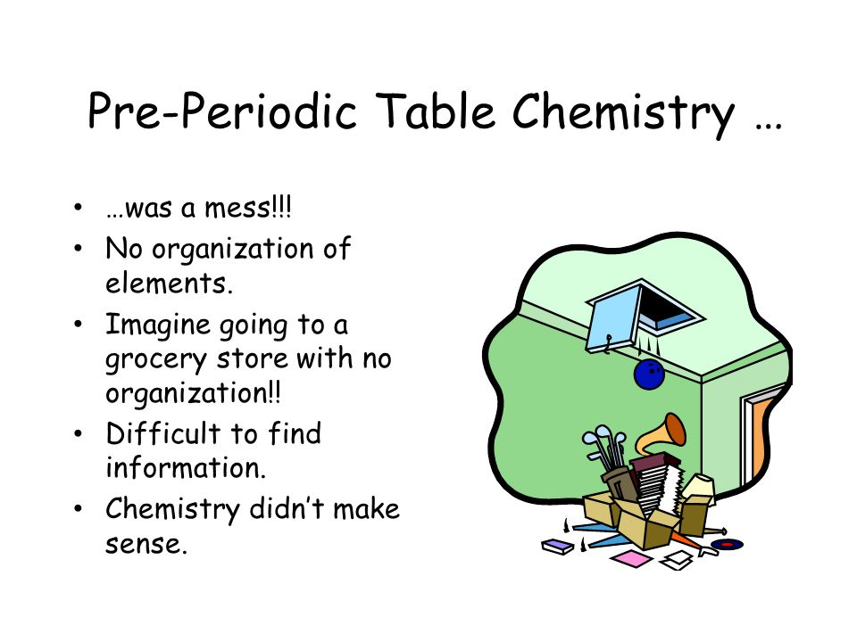 Pre-Periodic Table Chemistry … …was a mess!!.No organization of elements.