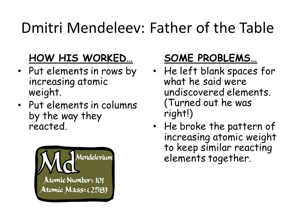 Dmitri Mendeleev: Father of the Table HOW HIS WORKED… Put elements in rows by increasing atomic weight.