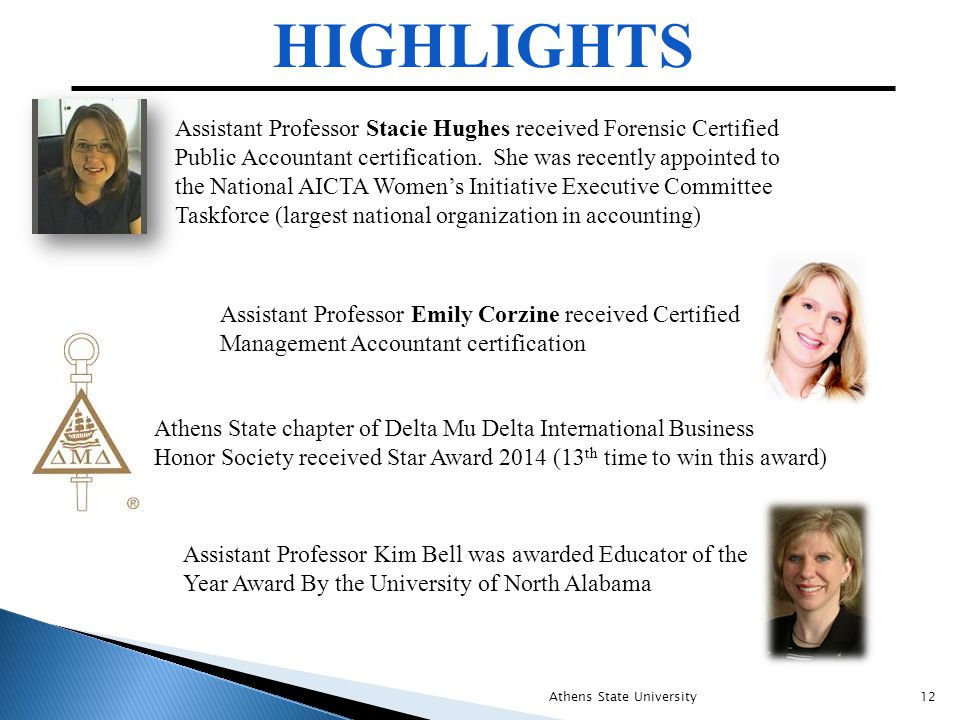 HIGHLIGHTS Athens State University12 Assistant Professor Stacie Hughes received Forensic Certified Public Accountant certification. She was recently a