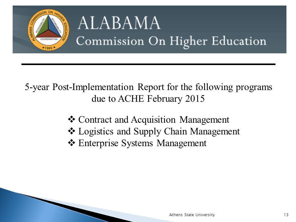Athens State University13 5-year Post-Implementation Report for the following programs due to ACHE February 2015  Contract and Acquisition Management  Logistics and Supply Chain Management  Enterprise Systems Management