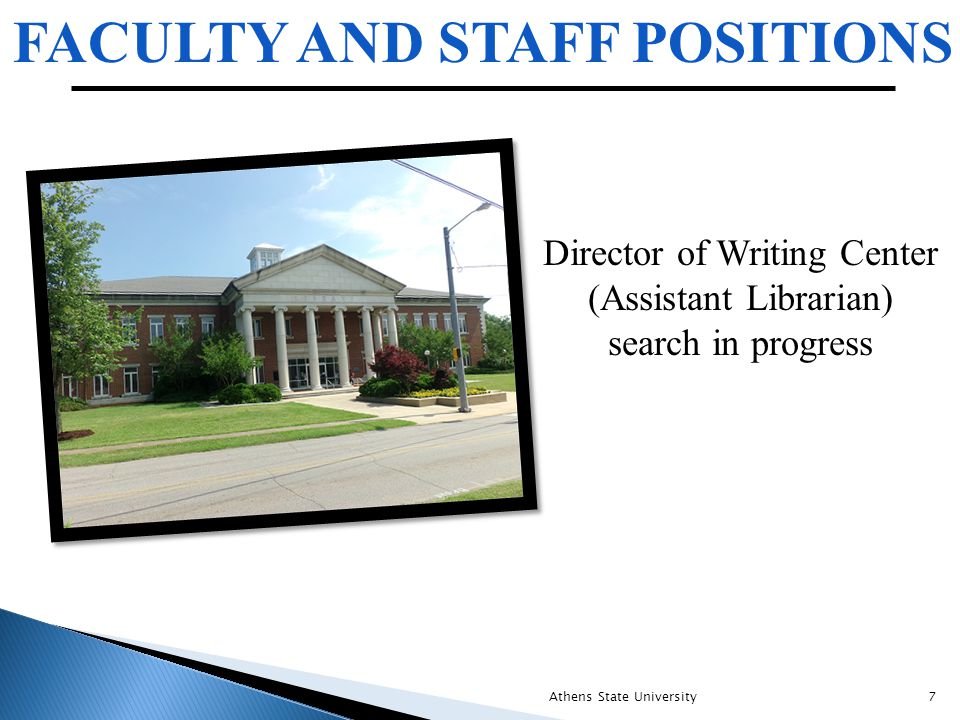 FACULTY AND STAFF POSITIONS Athens State University7 Director of Writing Center (Assistant Librarian) search in progress