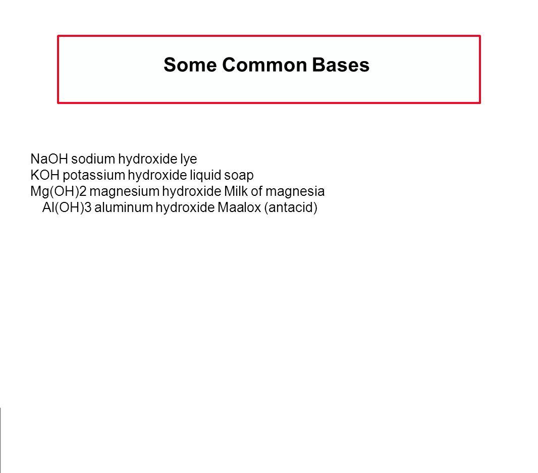 Some Common Bases NaOHsodium hydroxidelye KOHpotassium hydroxideliquid soap Mg(OH)2magnesium hydroxideMilk of magnesia Al(OH)3aluminum hydroxideMaalox (antacid)