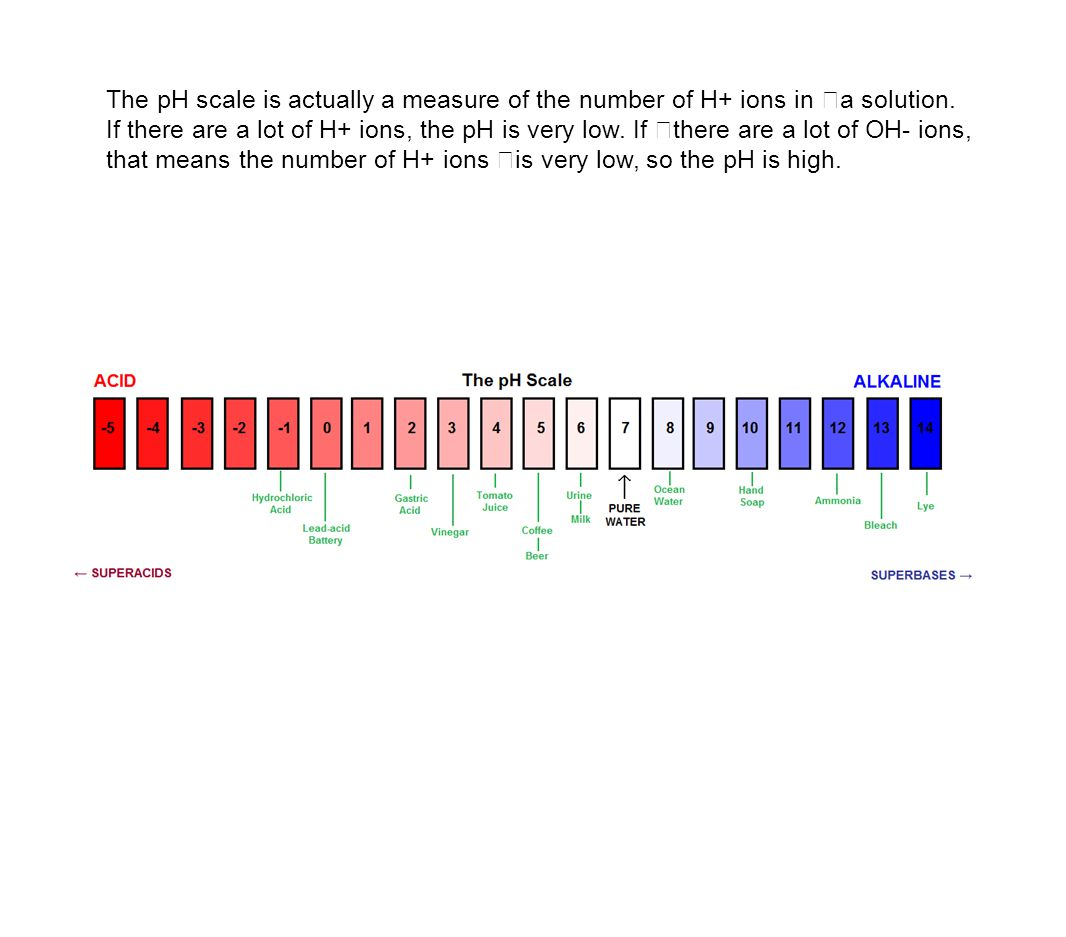 The pH scale is actually a measure of the number of H+ ions in a solution.