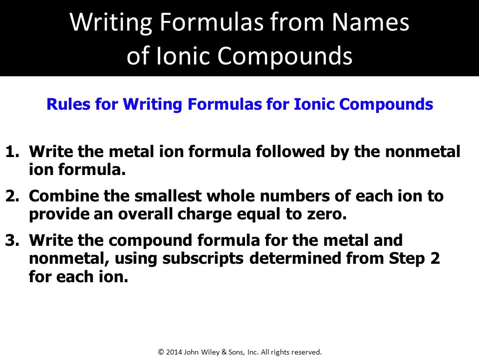 Rules for Writing Formulas for Ionic Compounds 1.Write the metal ion formula followed by the nonmetal ion formula. 2.Combine the smallest whole number