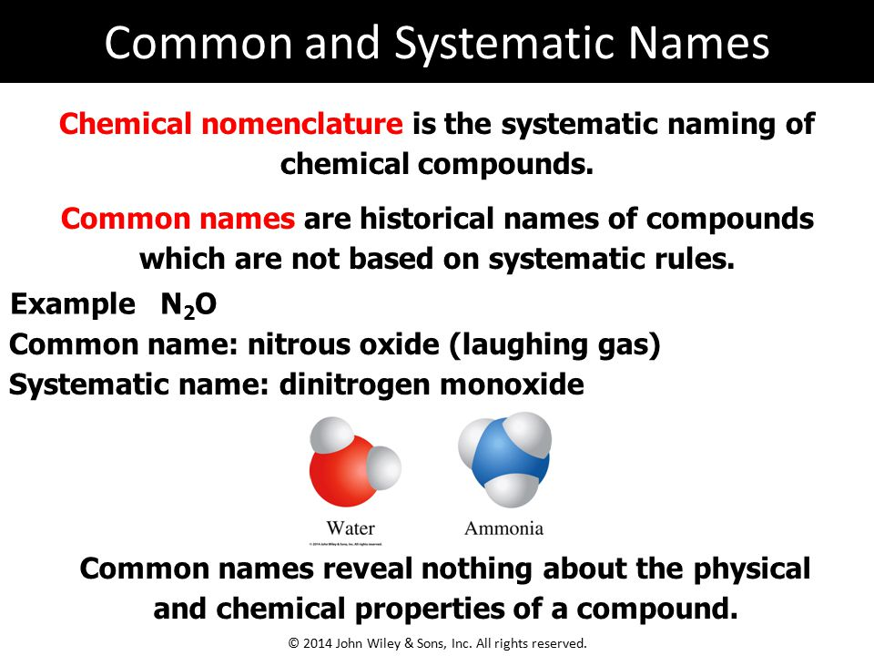 Chemical nomenclature is the systematic naming of chemical compounds. Common names are historical names of compounds which are not based on systematic