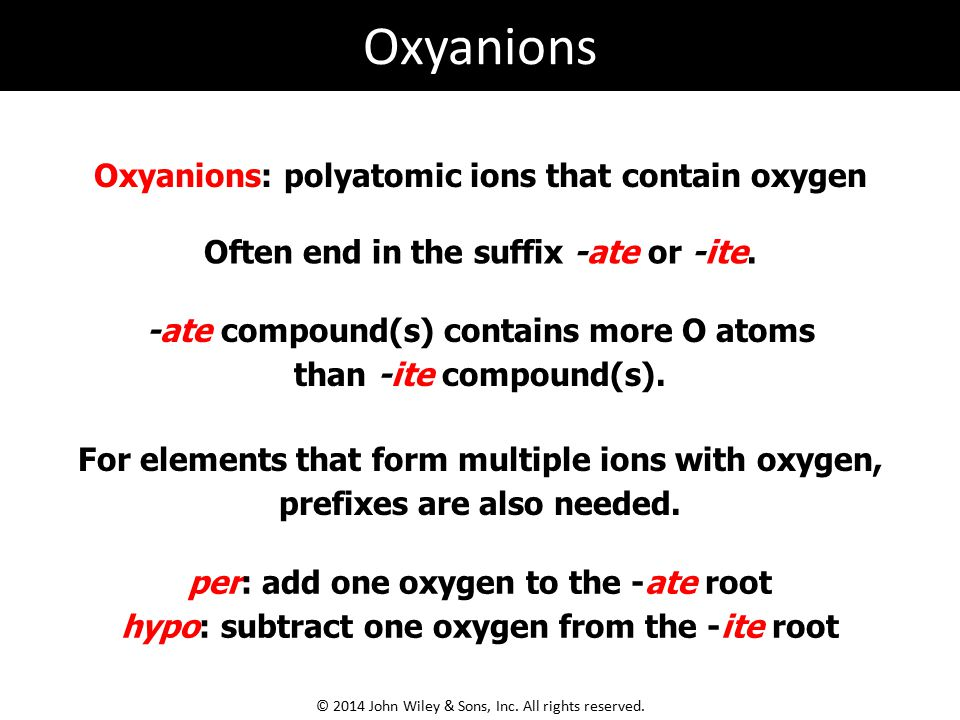 Oxyanions: polyatomic ions that contain oxygen -ate compound(s) contains more O atoms than -ite compound(s). Often end in the suffix -ate or -ite. For