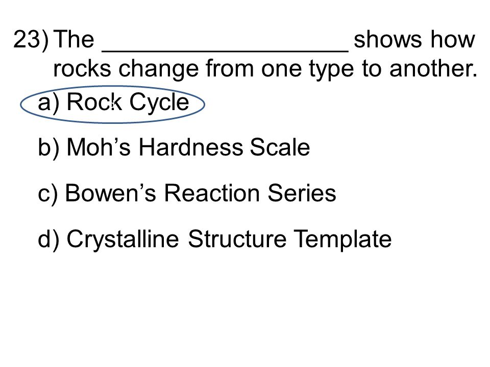 23)The __________________ shows how rocks change from one type to another.