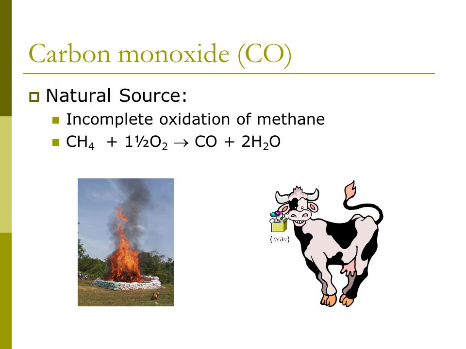 Carbon monoxide (CO)  Natural Source: Incomplete oxidation of methane CH 4 + 1½O 2  CO + 2H 2 O