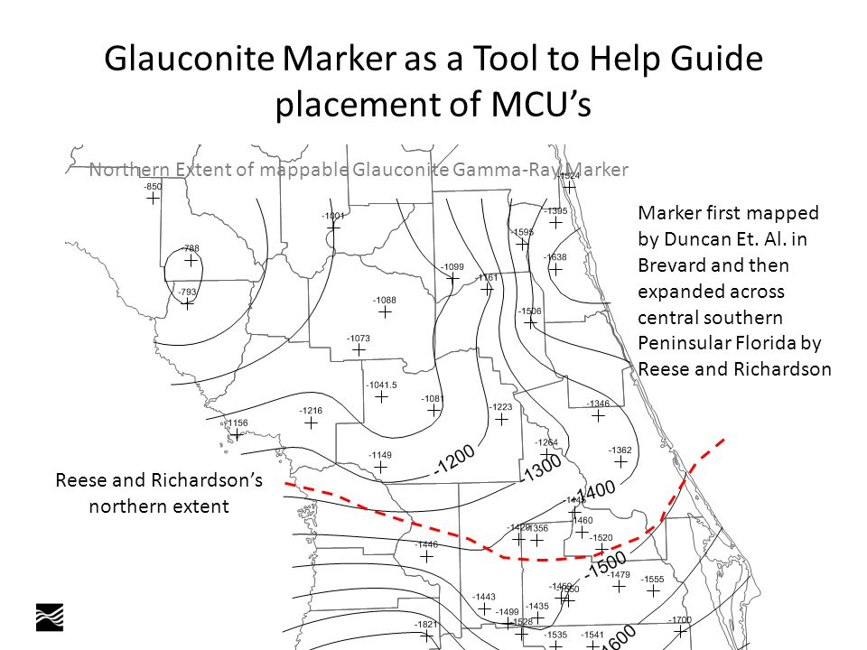 Glauconite Marker as a Tool to Help Guide placement of MCU's Northern Extent of mappable Glauconite Gamma-Ray Marker Reese and Richardson's northern extent Marker first mapped by Duncan Et.
