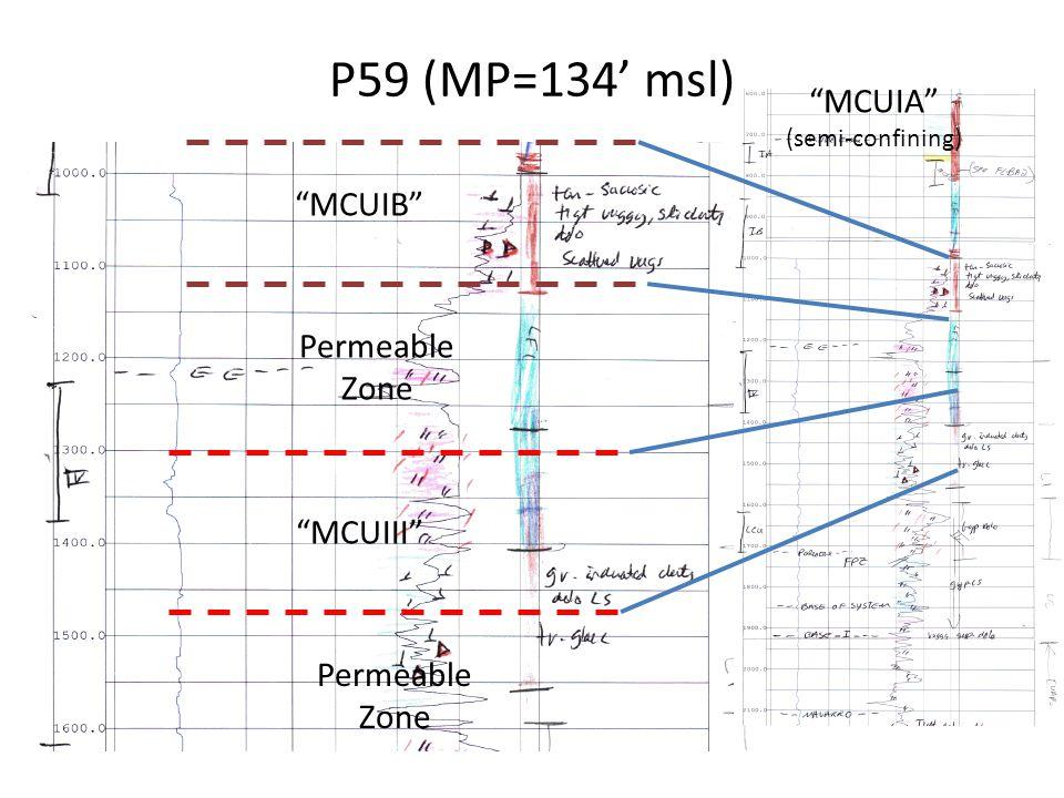"P59 (MP=134' msl) ""MCUIII"" ""MCUIB"" Permeable Zone ""MCUIA"" (semi-confining)"