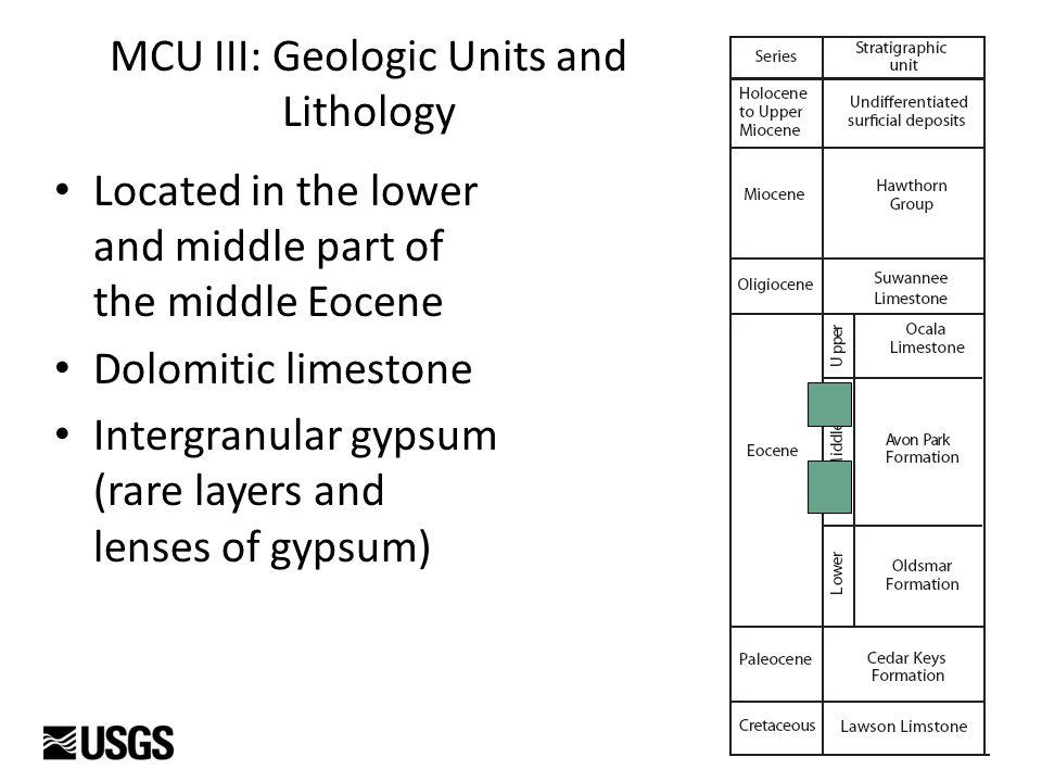 Comparisons MCUIIIII U.S. GYPSUM CORE HOLE, COLQUITT CO. USGS TEST WELL GA-WA2, WARE CO. MCUI