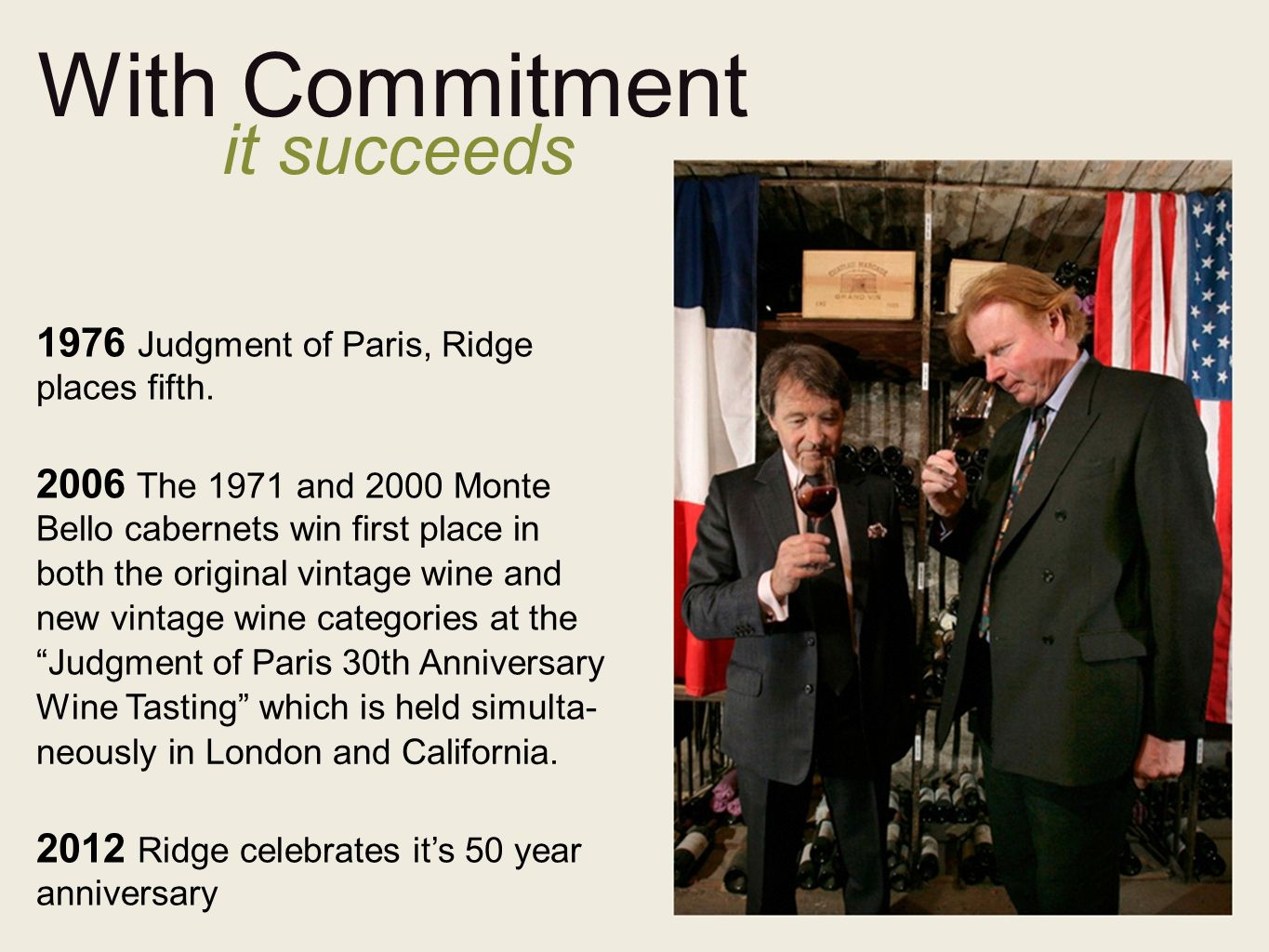 With Commitment it succeeds 1976 Judgment of Paris, Ridge places fifth.