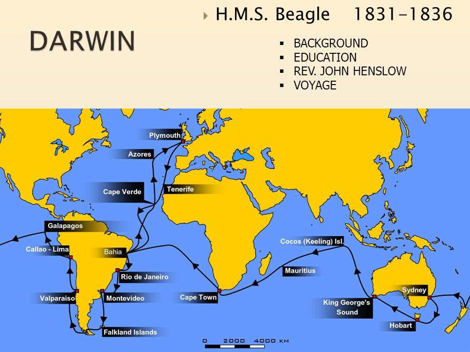  H.M.S. Beagle 1831-1836  BACKGROUND  EDUCATION  REV. JOHN HENSLOW  VOYAGE