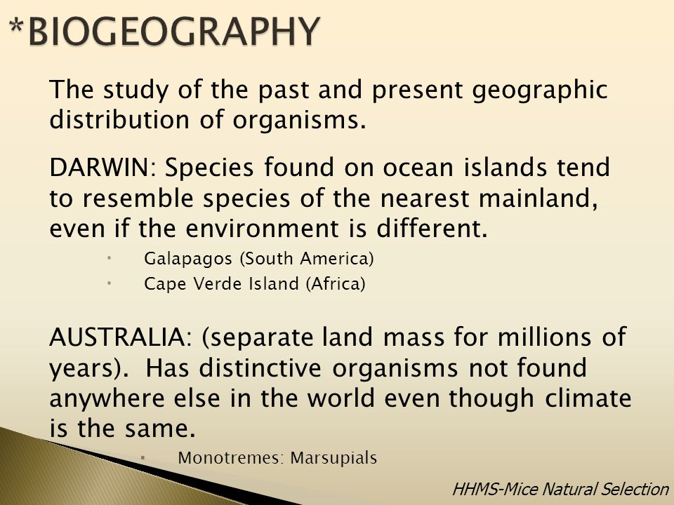 The study of the past and present geographic distribution of organisms.