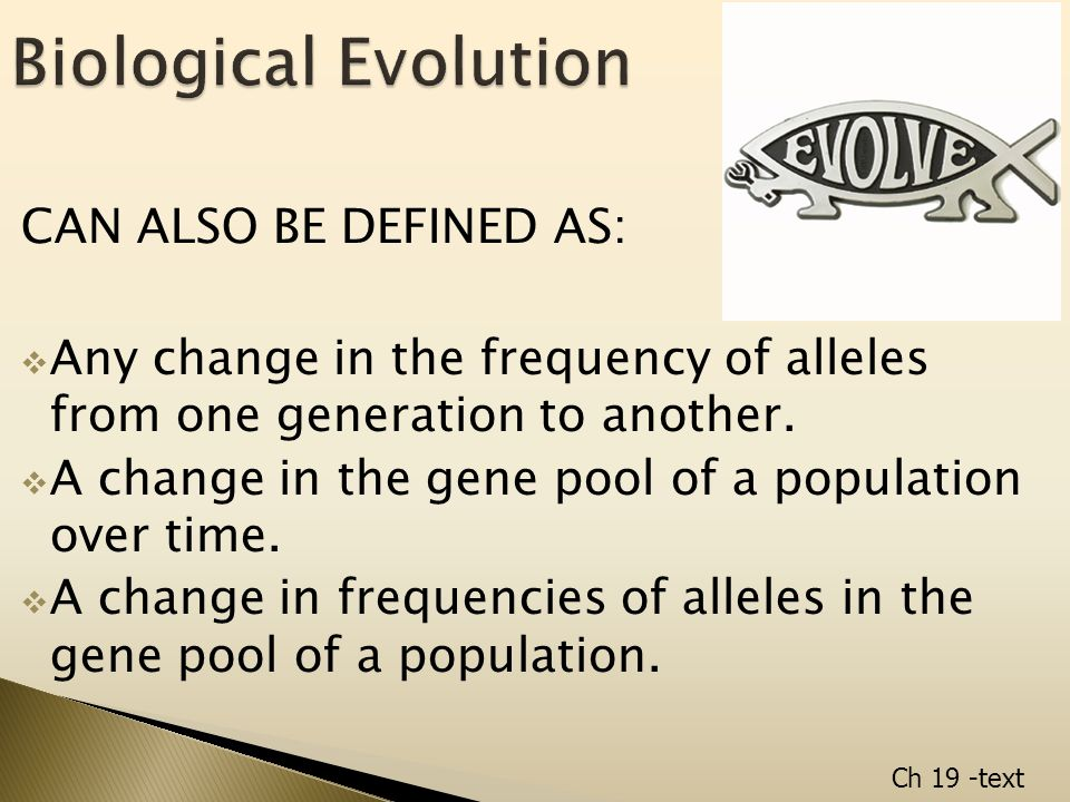 CAN ALSO BE DEFINED AS:  Any change in the frequency of alleles from one generation to another.