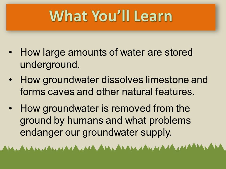 How large amounts of water are stored underground. How groundwater dissolves limestone and forms caves and other natural features. How groundwater is