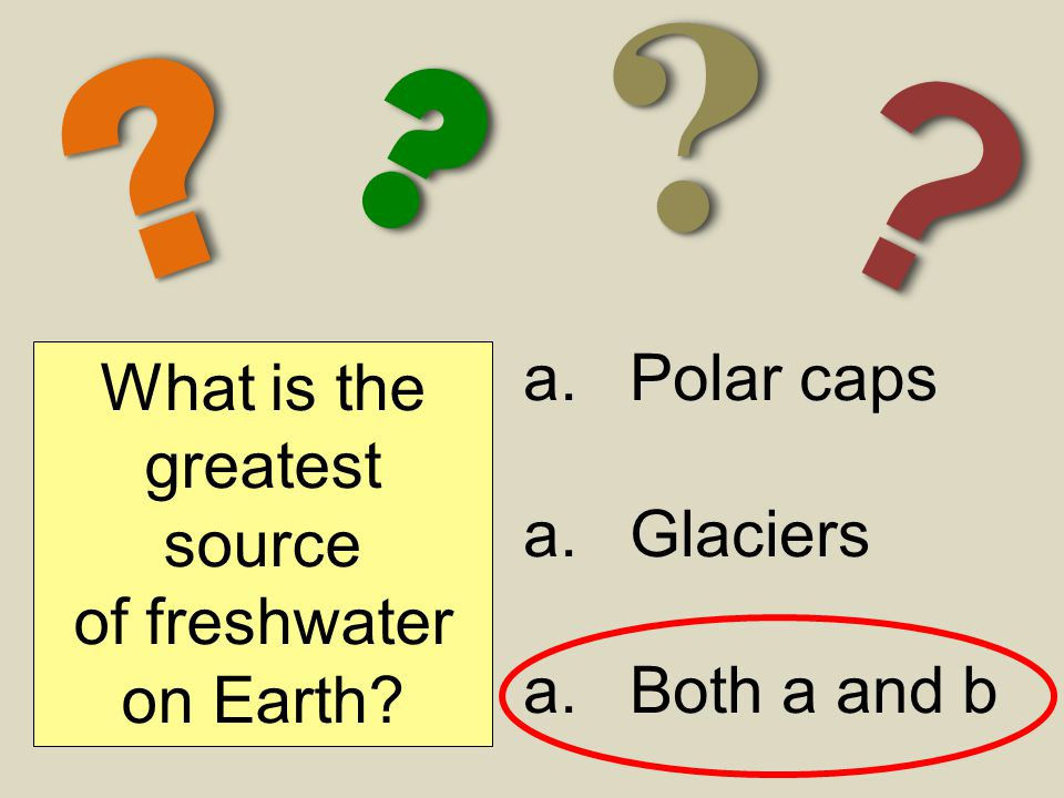 ?? ?? ?? ?? What is the greatest source of freshwater on Earth? a.Polar caps a.Glaciers a.Both a and b